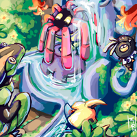 Pocket Island: Conservatory Fountain Group Pic! by Jesseth