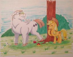Snowflake n Applejack for Watchatophat by mayorlight