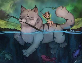 Fishing cat + fairy by jemajema