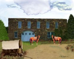 Livery Stable 25May2017 EllsworthKS Painting by MSchmidtProductions