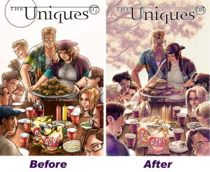 The Uniques #8 before and after: Cover! by ComfortLove