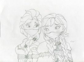 Duo Frozen Tie up Sketch by gustorak