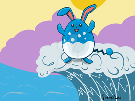 Sketch Day 19 - Azumarill used surf! by CrepuscularKitten