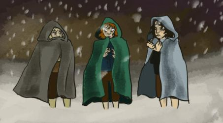 hobbits and snow by champchok
