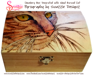 Jewellery Box With Pyrographed (Wood Burned) Cat by snazzie-designz