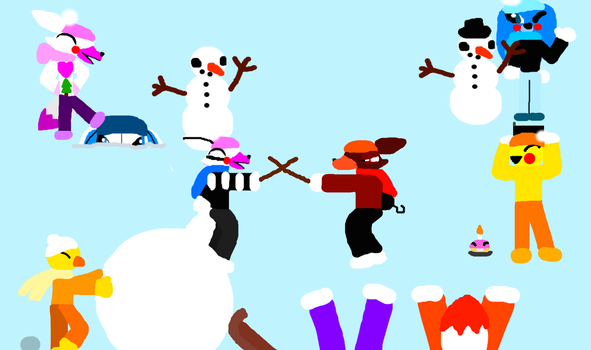 Ask FNAF Animatronics in the Snow by Blizzard-and-Friends