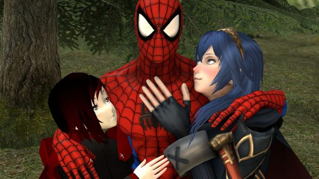 Ruby Rose and  Lucina giving  Spider-Man  a hug by kongzillarex619