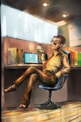 Birthday guy at workplace by bookpoint