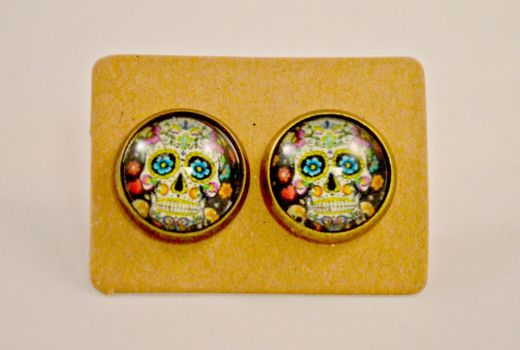 Festive Flower Sugar Skull Earrings by AshsMysticEmporium