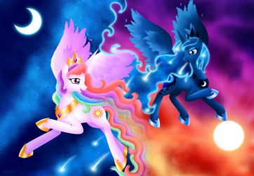 Celestia and Luna - Paint the Sky by Rose-Beuty