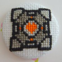 Companion Cube ver. 2 pin by pixel8bit