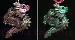 Chinese dragon pendants by The-GoblinQueen