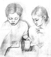 Pencil sketch: Two cashiers by sethness