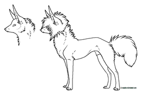 scene dog lineart male by nequita