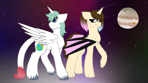 two horses stand in space or something by wuu-mu