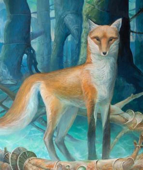 The fox in the futuristic forest by Ivan-Kovalevskiy