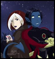 X-Men: Rogue + Nightcrawler by tigerangel