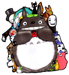 Totoro Shares Pocky by Yuki-Draws-the-Thing
