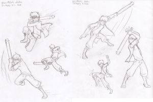Elias Action Practice Sketches by HugaDuck