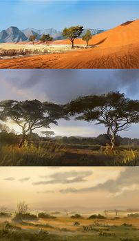 Land of birth - the grasslands and red dunes by Roiuky