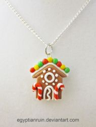 Gingerbread House Necklace by egyptianruin
