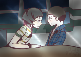 [Fan Art] Mike and Eleven (Stranger Things) by nekoushiromiya