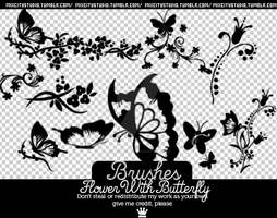 Brushes FlowerWithButterfly by SorixStudio