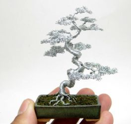 Wire bonsai tree with contorted trunk by KenToArt