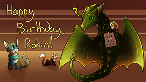 HAPPY BIRTHDAY ROBIN by Petuniabubbles