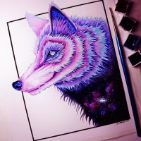 Galaxy Wolf - Painting by LethalChris
