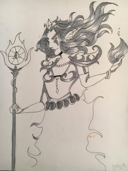 Inktober: Day 3: Goddess of Fire by YorokobiNyan