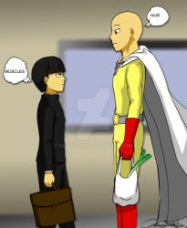 Mob Psycho 100 and One Punch Man by dawnzzzkie