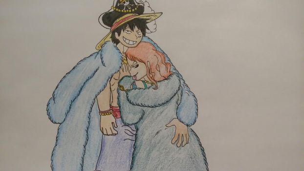Luffy and Nami: Blue Anniversary Outfits by XfangheartX