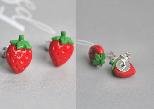 Strawberry Earring Studs by Madizzo