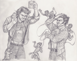 Pesky Pets - Gambit and Wolverine by NicoPony