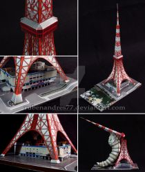 Tokyo Tower and Mothra paper model by Rubenandres77