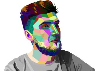Man's portrait in WPAP by MaryHat