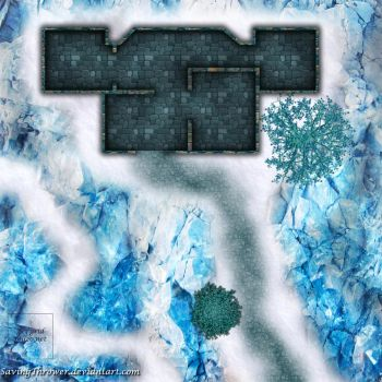 Clean ice fort battlemap for DnD / roll20 by SavingThrower
