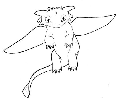 Line Art - Toothless Flying by sehirsch