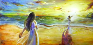 Oil on canvas - With You at The Sunset Beach by chalollita