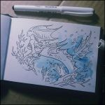 Sketchbook - Mermaid with coral branch by Candra
