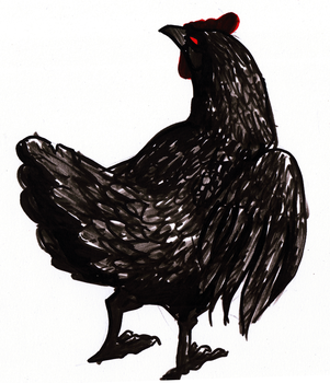 Inktober #5 - Void Chicken by Roqi