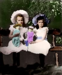 Olga and Maria with dolls by Linnea-Rose