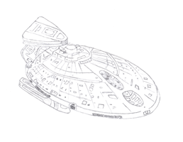 Starship Design of USS Metropolis, v3.5 Hand Drawn by StandingLeaf
