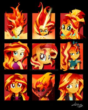 The Many Many Many Many Forms of Sunset Shimmer by II-Art
