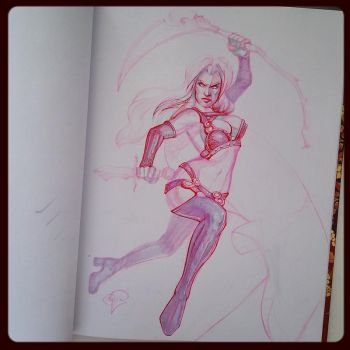 Lady Death Pink Sketch by pauscorpi
