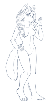 ~FREE female anthro lineart~ by SnowSnow11