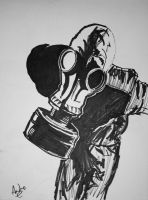 gas mask dude by Mightykingandrew