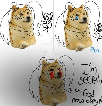 Doge at comic con revealing a deep dark secret by Chitheidiot