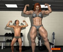 Giantess female bodybuilder muscle comparison by theamazonclub